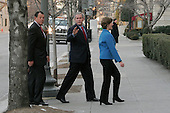 Washington, D.C. - February 11, 2007 -- United States President George W. Bush, and First Lady Laura Bush walk into St. Johns Episcipal Church in Washington DC February 11, 2007. <br /> Credit: Ken Cedeno - Pool via CNP