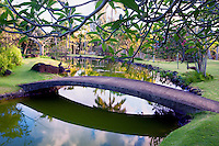 Bridge and pond and garden at Na Aina Kai Botanical Gardens. Kauai, Hawaii