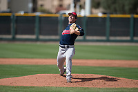Cleveland Indians relief pitcher James Karinchak (56) during a Minor League Spring Training game against the San Francisco Giants at the San Francisco Giants Training Complex on March 14, 2018 in Scottsdale, Arizona. (Zachary Lucy/Four Seam Images)