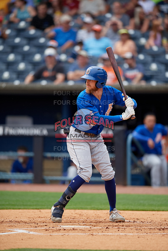 Durham Bulls Dalton Kelly (19) bats during an International League game against the Toledo Mud Hens on July 16, 2019 at Fifth Third Field in Toledo, Ohio.  Durham defeated Toledo 7-1.  (Mike Janes/Four Seam Images)