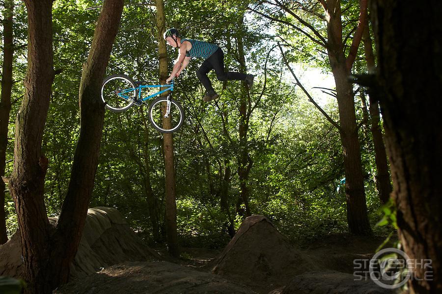 Sam Pilgrim  riding NS bikes jump bike ,  4a jumps, Cove , Hampshire  April 2011 pic copyright Steve Behr / Stockfile