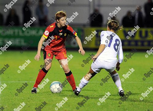 2011-10-26 / Voetbal / kwalificatie EURO 2013 Dames / België - Noorwegen / Lien Mermans (L) met Mienna..Foto: Mpics