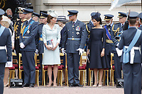 Prince William, Catherine Duchess of Cambridge, Prince Harry, Meghan Duchess of Sussex<br /> The Royal Family watch RAF centenary fly-past at Buckingham Palace, The Mall, London, England on July 10, 2018.<br /> CAP/GOL<br /> &copy;GOL/Capital Pictures