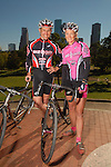 Cyclists Kevin Vincent and Lee Neathery before a ride at Eleanor Tinsley Park Friday Nov. 17,2006.(Dave Rossman/For the Chronicle)<br />