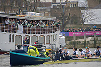 Greater London. United Kingdom, Cambridge supporters, weigh up the opposition, looking at the Oxford crew on the start, University Boat Races , Cambridge University vs Oxford University. Putney to Mortlake,  Championship Course, River Thames, London. <br /> <br /> Saturday  24.03.18<br /> <br /> [Mandatory Credit  Intersport Images]