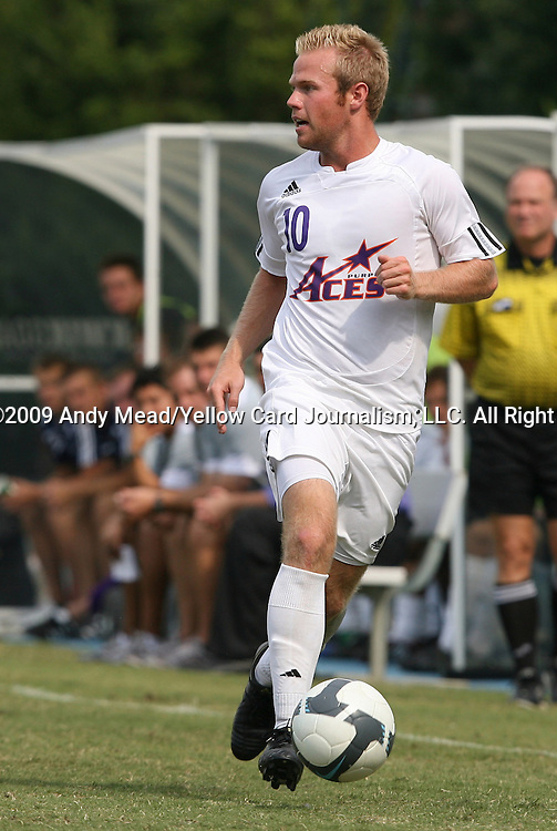 06 September 2009: Evansville's Tad Kreamalmeyer. The University of North Carolina Tar Heels defeated the Evansville University Purple Aces 4-0 at Fetzer Field in Chapel Hill, North Carolina in an NCAA Division I Men's college soccer game.