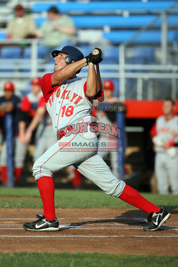 July 11th 2008:  Zach Lutz (18) of the Brooklyn Cyclones, Class-A affiliate of the NY Mets, during a game at Russell Diethrick Park in Jamestown, NY.  Photo by:  Mike Janes/Four Seam Images