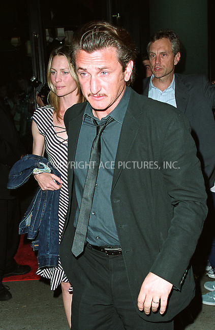 Sean Penn and wife Robin Wright attending a party celebration of the first anniversary of his club Man Ray. New York, July 10, 2002. Please byline: Alecsey Boldeskul/NY Photo Press.   ..*PAY-PER-USE*      ....NY Photo Press:  ..phone (646) 267-6913;   ..e-mail: info@nyphotopress.com