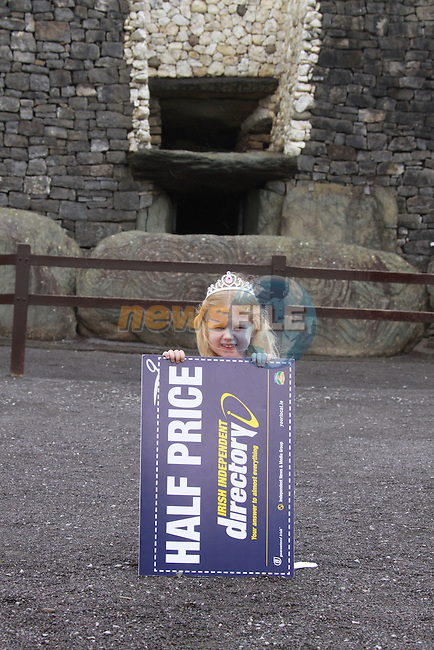 Little Miss Meath and Little Miss Louth launch the Louth Meath Irish Independent Directory at Newgrange.. .Wednesday 2nd September sees the launch of the Louth Meath Irish Independent Directory with Little Miss Meath, four year old Sophie McDonnell from Millfarm in Dunboyne, Co Meath and Little Miss Louth, three year old Billie Mynes from Drogheda, Co Louth.. .120,000 homes and businesses across Louth and Meath and 1.3 million homes and businesses in total across Ireland will receive a free copy of their local Irish Independent Directory in the coming weeks following the launch of the dedicated directory for Louth and Meath today, a dedicated directory for Kildare and Wicklow this month and dedicated directories that have previously been distributed in Galway and Mayo, Dublin, Carlow & Kilkenny, Cork, Limerick, Clare & Tipperary.. .The 2009/2010 Louth / Meath Irish Independent Directory is the THIRD successful edition of its kind and features a comprehensive A to Z of local businesses, a tasty restaurant guide for the Louth and Meath area, useful information on services across the two counties and of course the reliable credit crunching pages of coupons potentially saving their readers thousands of euros with Louth and Meath businesses...Photo: Fran Caffrey/www.newsfile.ie.NO REPO FEE.SUPPLIED ON BEHALF OF THE INDEPENDENT DIRECTORY...