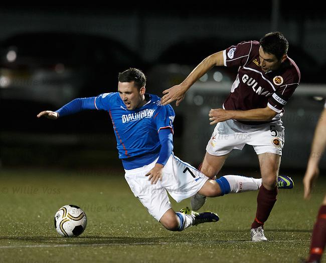 Ross McMillan shoves over Nicky Clark