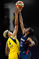 Washington, DC - Aug 8, 2019: Indiana Fever forward Candice Dupree (4) and Washington Mystics forward LaToya Sanders (30) jump ball to start the game between the Indiana Fever and the Washington Mystics at the Entertainment & Sports Arena in Washington, DC. (Photo by Phil Peters/Media Images International)