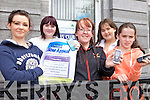 PHONES WANTED: Launching a plea for old mobile phones for the X-istance Youth Café in Listowel, l-r: Stacie Weekes, Muirren O'Connor, Tina Sheehy, Jessica Weekes, Lauren Normile.