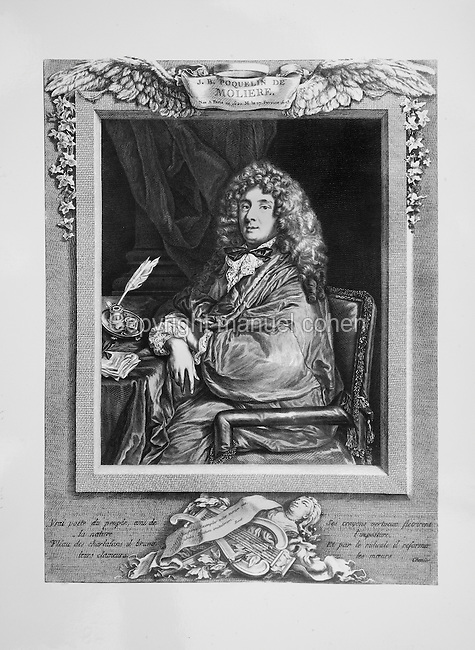 Portrait of Jean-Baptiste Poquelin, known as Moliere, 1622-73, French playwright and actor, 18th century engraving by Jacques Firmin Beauvarlet, 1731-97, French engraver, after a portrait by Sebastien Bourdon, 1616-71, French painter and engraver. Copyright © Collection Particuliere Tropmi / Manuel Cohen