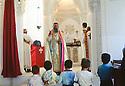 Turkey 1997 .The celebration of the sunday mass in Midin.Turquie 1997.La messe du dimanche matin a Midin