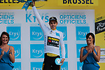 Wout Van Aert (BEL) retains the young riders White Jersey after his Team Jumbo-Visma win Stage 2 of the 2019 Tour de France a Team Time Trial running 27.6km from Bruxelles Palais Royal to Brussel Atomium, Belgium. 7th July 2019.<br /> Picture: Colin Flockton | Cyclefile<br /> All photos usage must carry mandatory copyright credit (© Cyclefile | Colin Flockton)