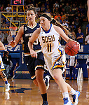 BROOKING, SD - NOVEMBER 21:  Madison Guebert #11 from South Dakota State drives against Michaela Mabrey #23 from Notre  Dame in the first half of their game Saturday afternoon at Frost Arena in Brookings. (Photo by Dave Eggen/Inertia)