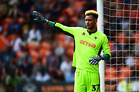 Blackpool's Christoffer Mafoumbi gestures<br /> <br /> Photographer Richard Martin-Roberts/CameraSport<br /> <br /> The EFL Sky Bet League One - Blackpool v Fleetwood Town - Monday 22nd April 2019 - Bloomfield Road - Blackpool<br /> <br /> World Copyright © 2019 CameraSport. All rights reserved. 43 Linden Ave. Countesthorpe. Leicester. England. LE8 5PG - Tel: +44 (0) 116 277 4147 - admin@camerasport.com - www.camerasport.com