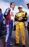 Brother Jeff and Ward Burton talk before qualifying at the Popsecret 400 at Rockingham, NC in October 2000. (Photo by Brian Cleary)