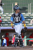 Myrtle Beach Pelicans catcher Jorge Alfaro #24 in the field during a game against the Potomac Nationals at Ticketreturn.com Field at Pelicans Ballpark on April 16, 2014 in Myrtle Beach, South Carolina. Potomac defeated Myrtle Beach 7-3. (Robert Gurganus/Four Seam Images)