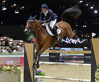 Quentin Judge (USA), riding HH Whiskey Royale at the Gucci Gold Cup International Jumping competition at the 2015 Longines Masters Los Angeles at the L.A. Convention Centre.<br /> October 3, 2015  Los Angeles, CA<br /> Picture: Paul Smith / Featureflash