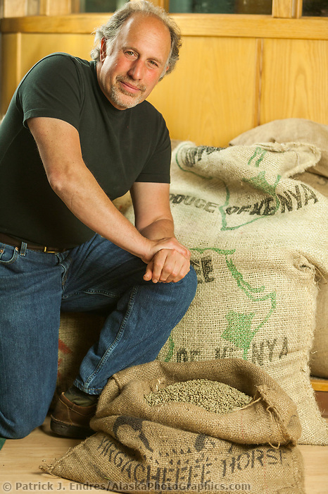 Portrait of Michaelj Gesser, owner of Alaska Coffee Roasting Company in Fairbanks.