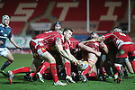 Scarlets scrum half Gareth Davies whips the ball away from the back of the scrum.<br /> Celtic League<br /> Scarlets v Munster<br /> <br /> 01.03.14<br /> <br /> &copy;Steve Pope-SPORTINGWALES