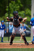 Jupiter Hammerheads catcher B.J. Lopez (18) throws the ball back to the pitcher during a Florida State League game against the Dunedin Blue Jays on May 16, 2019 at Jack Russell Memorial Stadium in Clearwater, Florida.  Dunedin defeated Jupiter 1-0.  (Mike Janes/Four Seam Images)