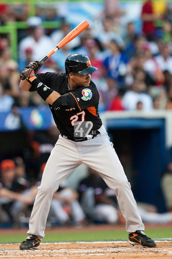 11 March 2009: #27 Danny Rombley of the Netherlands is seen at bat during the 2009 World Baseball Classic Pool D game 6 at Hiram Bithorn Stadium in San Juan, Puerto Rico. Puerto Rico wins 5-0 over the Netherlands