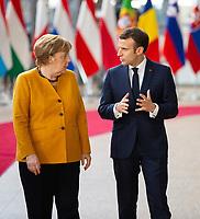 Le Président français Emmanuel Macron et Angela Merkel lors de la photo de famille au Sommet européen à Bruxelles.<br /> Belgique, Bruxelles, 22 mars 2019 <br /> Chancellor of Germany Angela Merkel and President of France Emmanuel Macron pictured during a family photo during the second day of the EU summit meeting at the European Union headquarters in Brussels.<br /> Belgium, Brussels, 22 March 2019.