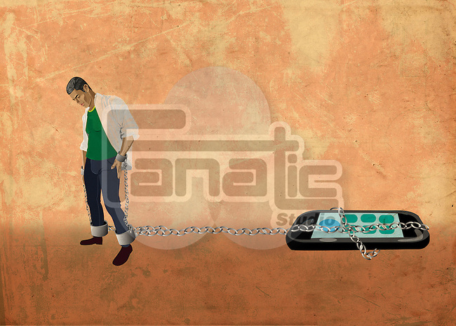 Illustrative image of young man chained to a mobile phone