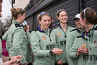Greater London. United Kingdom, Cambridge Women's squad celebrate a double victory in both the Women's races. University Boat Races , Cambridge University vs Oxford University. Putney to Mortlake,  Championship Course, River Thames, London. <br /> <br /> Saturday  24.03.18<br /> <br /> [Mandatory Credit  Intersport Images]