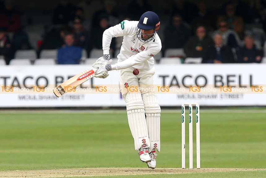 Alastair Cook of Essex takes a low blow during Essex CCC vs Hampshire CCC, Specsavers County Championship Division 1 Cricket at The Cloudfm County Ground on 19th May 2017