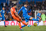 Jorge Molina Vidal (R) of Getafe CF fights for the ball with Luis Hernandez Rodriguez of Malaga CF during the La Liga 2017-18 match between Getafe CF and Malaga CF at Coliseum Alfonso Perez on 12 January 2018 in Getafe, Spain. Photo by Diego Gonzalez / Power Sport Images