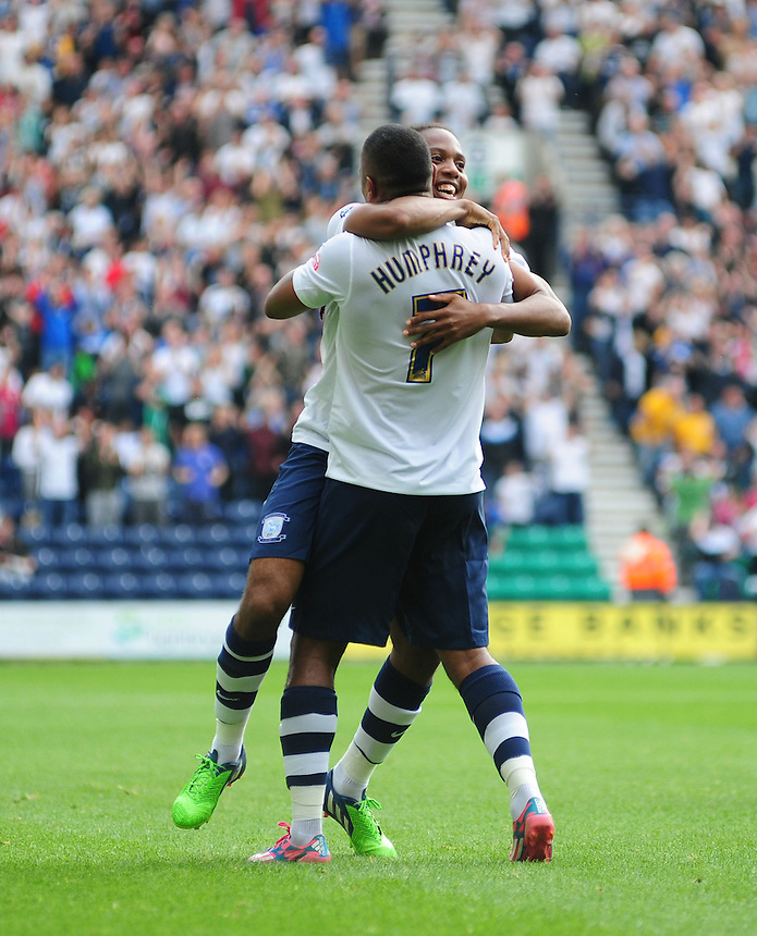 Preston North End's Daniel Johnson celebrates scoring his sides equalising goal, with team-mate Chris Humphrey, to make the score 1-1<br /> <br /> Photographer Chris Vaughan/CameraSport<br /> <br /> Football - The Football League Sky Bet Championship - Preston North End v Ipswich Town - Saturday 22nd August 2015 - Deepdale - Preston<br /> <br /> &copy; CameraSport - 43 Linden Ave. Countesthorpe. Leicester. England. LE8 5PG - Tel: +44 (0) 116 277 4147 - admin@camerasport.com - www.camerasport.com