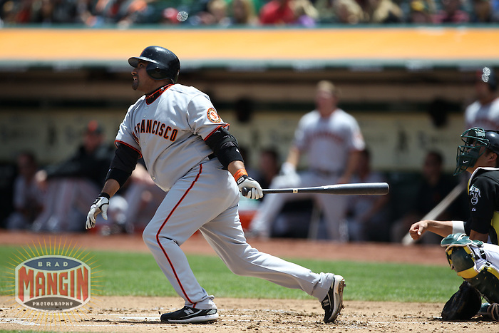 OAKLAND, CA - MAY 22:  Bengie Molina #1 of the San Francisco Giants bats against the Oakland Athletics during the game at the Oakland-Alameda County Coliseum on May 22, 2010 in Oakland, California. Photo by Brad Mangin