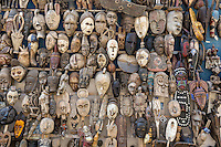 Dakar, Senegal.  Carved African Masks, for sale as Souvenirs.