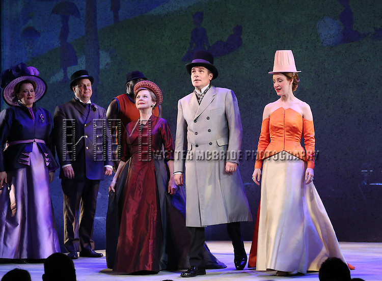 Penny Fuller, Robert Sean Leonard and Erin Davie during the opening night performance curtain call bows for 'Sunday in the Park with George' at the Hudson Theatre on February 23, 2017 in New York City.