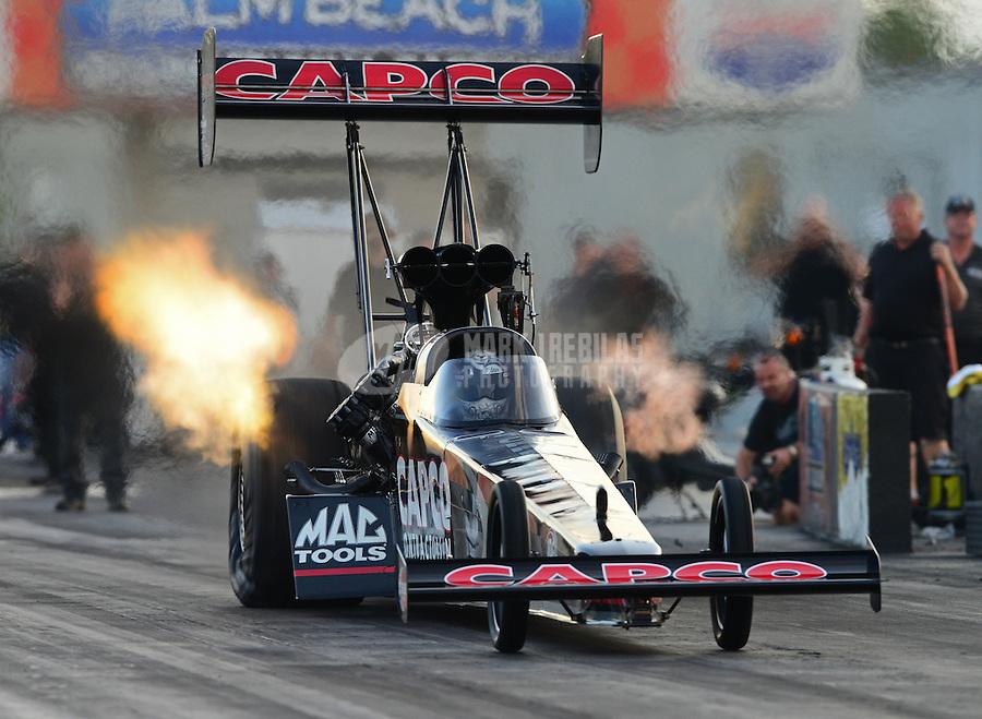 Jan. 16, 2013; Jupiter, FL, USA: NHRA top fuel dragster driver Steve Torrence during testing at the PRO Winter Warmup at Palm Beach International Raceway.  Mandatory Credit: Mark J. Rebilas-