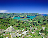 New Zealand, South Island, Banks Peninsula: View over Akaroa Bay | Neuseeland, Suedinsel, Banks Halbinsel: Akaroa Bay