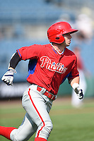 Ryan McKenna (18) of St. Thomas Aquinas in Berwick, Maine playing for the Philadelphia Phillies scout team during the East Coast Pro Showcase on August 1, 2014 at NBT Bank Stadium in Syracuse, New York.  (Mike Janes/Four Seam Images)