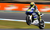 Yamaha MotoGP rider Valentino Rossi of Italy rides after qualifying session at the Australian Motorcycle GP in Phillip Island, Oct 19, 2013. Photo by Daniel Munoz/VIEWpress IMAGE RESTRICTED TO EDITORIAL USE ONLY- STRICTLY NO COMMERCIAL USE.