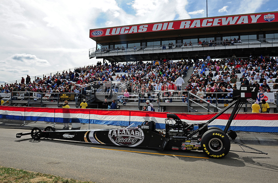 Sept. 5, 2011; Claremont, IN, USA: NHRA top fuel dragster driver Larry Dixon during the US Nationals at Lucas Oil Raceway. Mandatory Credit: Mark J. Rebilas-