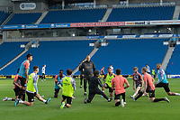 Manchester City' during the pre-match warm-up <br /> <br /> Photographer David Horton/CameraSport<br /> <br /> The Premier League - Brighton & Hove Albion v Manchester City - Saturday 11th July 2020 - The Amex Stadium - Brighton<br /> <br /> World Copyright © 2020 CameraSport. All rights reserved. 43 Linden Ave. Countesthorpe. Leicester. England. LE8 5PG - Tel: +44 (0) 116 277 4147 - admin@camerasport.com - www.camerasport.com