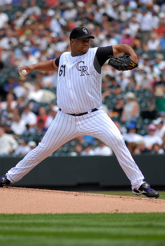 10 August 08: Colorado Rockies pitcher Livan Hernandez delivers a pitch against the San Diego Padres. The Padres defeated the Rockies 16-7 at Coors Field in Denver, Colorado. FOR EDITORIAL USE ONLY. FOR EDITORIAL USE ONLY