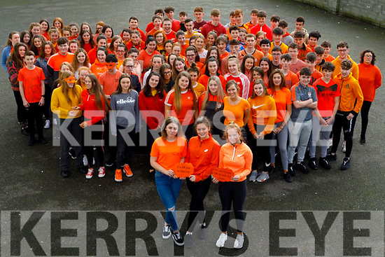 Students of Gaelcholaiste Chairraí who went Orange on Wednesday to fight against Suicide