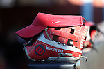 19 February 2017: Ohio State's Maddie Marotti's glove and visor. The Ohio State University Buckeyes played the University of Louisville Cardinals at Anderson Family Softball Stadium in Chapel Hill, North Carolina as part of the ACC/Big 10 College Softball Challenge. OSU won the game 4-3.