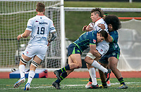 WASHINGTON, DC - FEBRUARY 16: JP Smith #9 and Vili Toluta'u #16 of the Seattle Seawolves bring down Nic Mirhashem #21 of Old Glory DC during a game between Seattle Seawolves and Old Glory DC at Cardinal Stadium on February 16, 2020 in Washington, DC.
