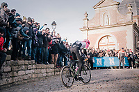 Sep Vanmarcke (BEL/Education First-Drapac) is the race leader up the Kapelmuur<br /> <br /> Omloop Het Nieuwsblad 2018<br /> Gent &rsaquo; Meerbeke: 196km (BELGIUM)