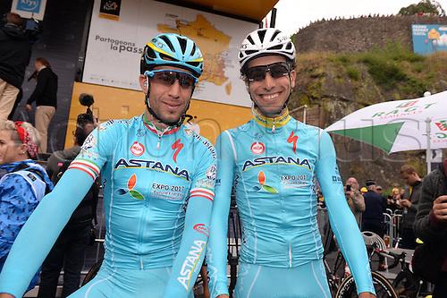 03.07.2016. Normandy, France. Tour de France Stage 2 from Saint-Lo to Cherbourg en-Cotentin.  Astana; Aru, Fabio; Nibali, Vincenzo;