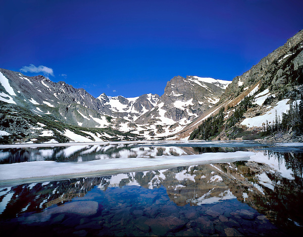 Isabelle Lake and the Continental Divide in spring, Boulder, Colorado. Guided photo tours to Indian Peaks.